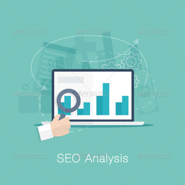 GraphicRiver Flat SEO Analysis Process Concept 7500380