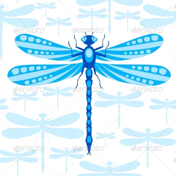 GraphicRiver Dragonfly Seamless Pattern 7500617