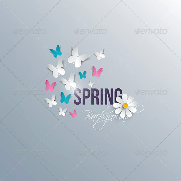 GraphicRiver Abstract spring background with paper flowers 7475986