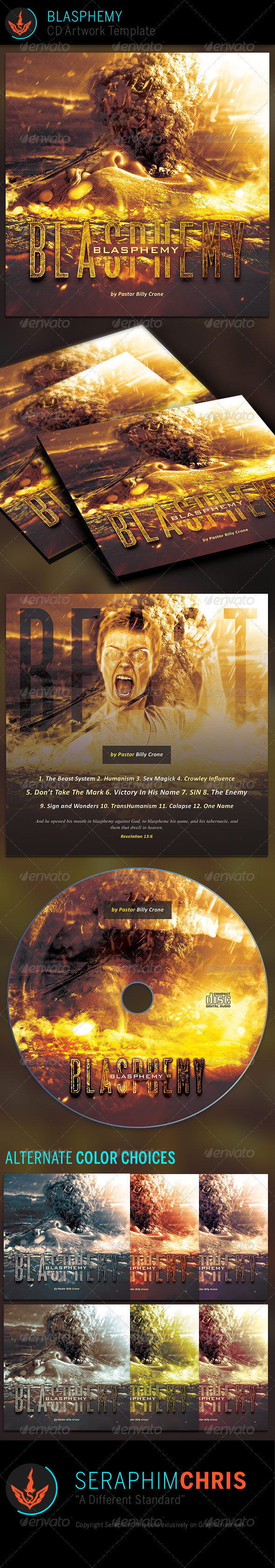 Blasphemy: CD Artwork Template - CD & DVD artwork Print Templates
