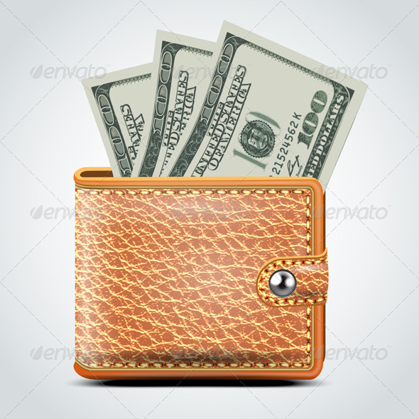 GraphicRiver Brown Leather Wallet Dollar USA 7500744