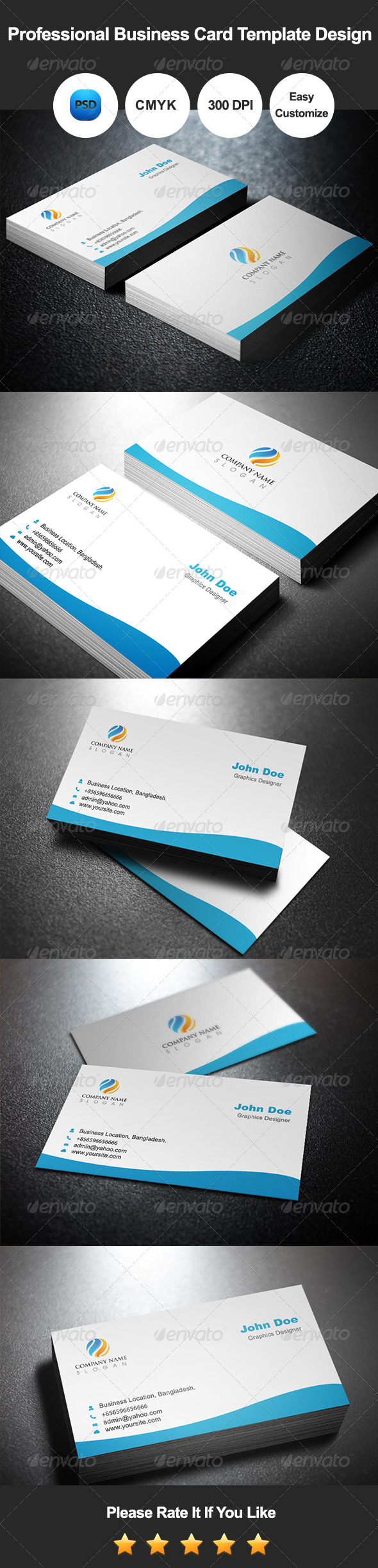 GraphicRiver Professional Business Card Template Design 7500754