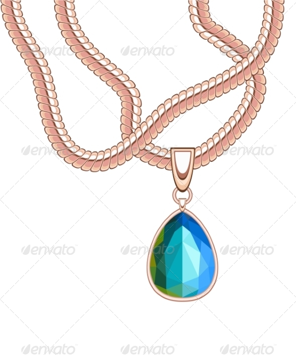 GraphicRiver Necklace with Sapphire 7501049