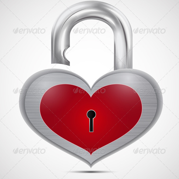 GraphicRiver Open Metal Heart Padlock 7501102