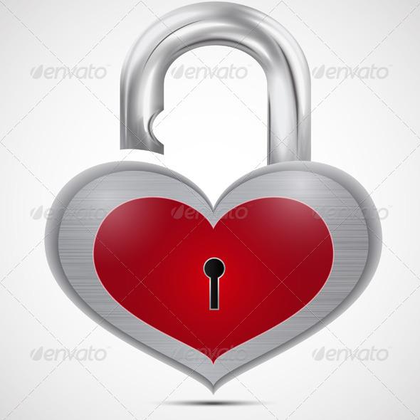 Open Metal Heart Padlock
