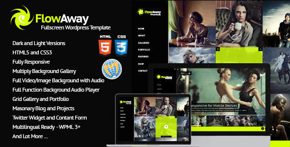 FlowAway WP Fullscreen Video/Image with Audio - Portfolio Creative