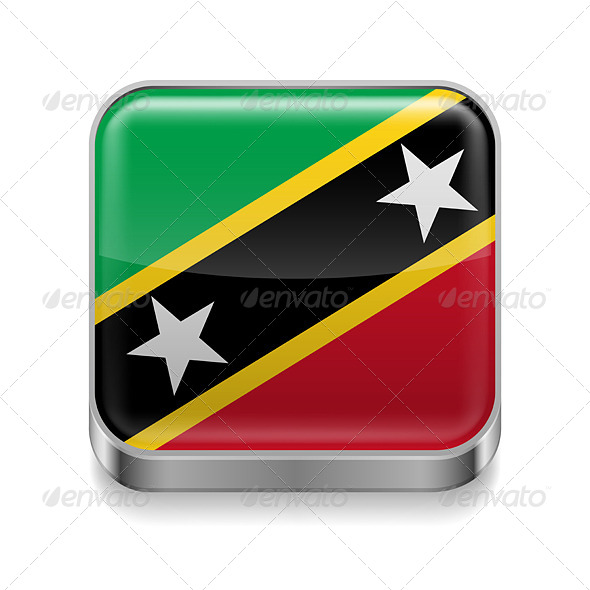 GraphicRiver Metal Icon of Saint Kitts and Nevis 7501426