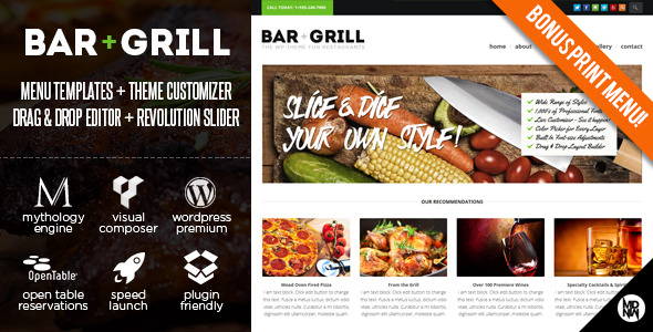 Bar + Grill: Restaurant & eCommerce Theme for WP