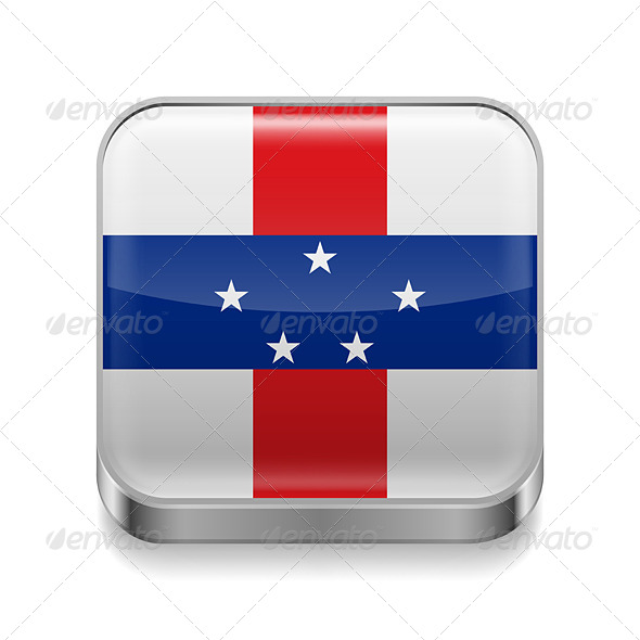 GraphicRiver Metal Icon of Netherlands Antilles 7501912