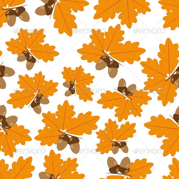 GraphicRiver Acorns with Oak Leaves in Autumn Seamless Texture 7501982