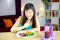 Chinese american girl ready to start diet with salad - PhotoDune Item for Sale