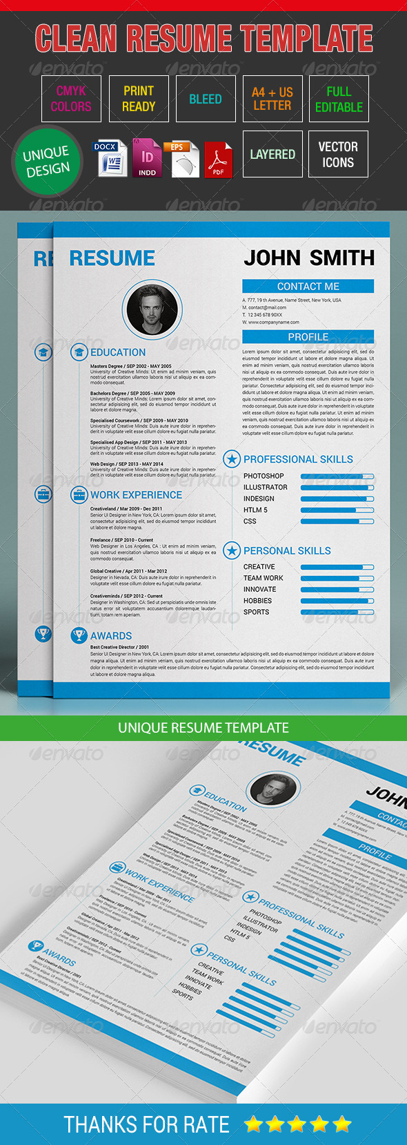 GraphicRiver Clean Resume Template 08 7502089