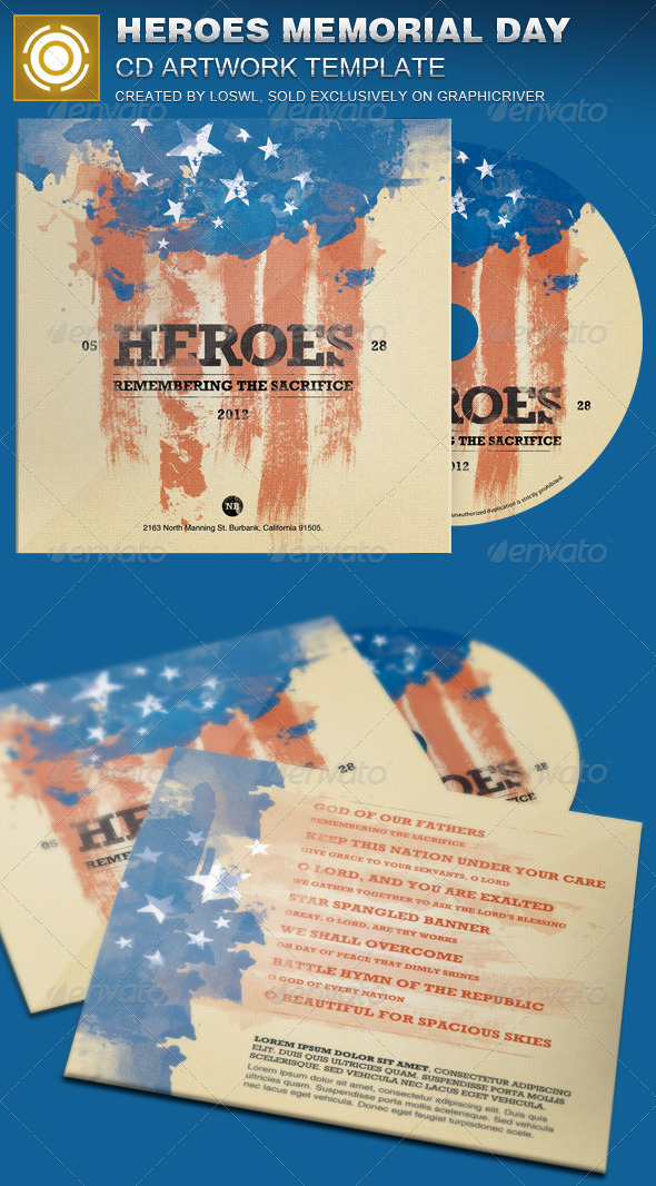 GraphicRiver Heroes Memorial Day CD Artwork Template 7502101