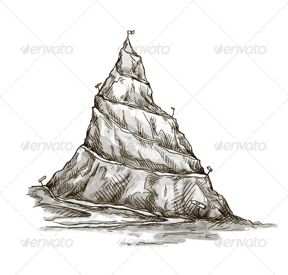 GraphicRiver Hand Drawn Mountain Peak Serpentine Road 7502120