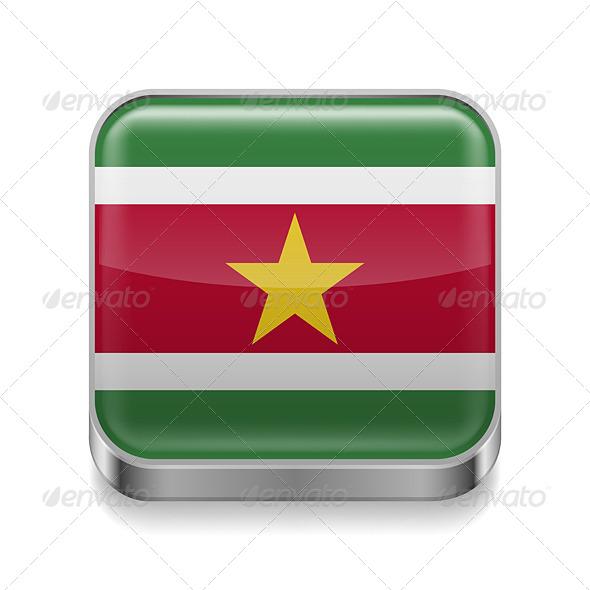 GraphicRiver Metal Icon of Suriname 7502156