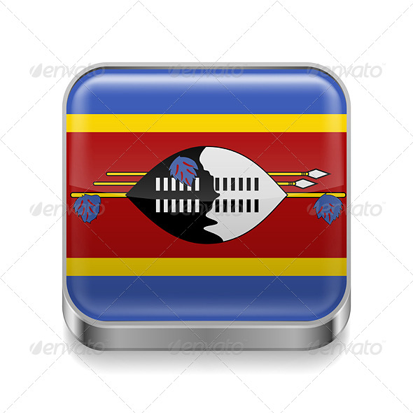 GraphicRiver Metal Icon of Swaziland 7502278