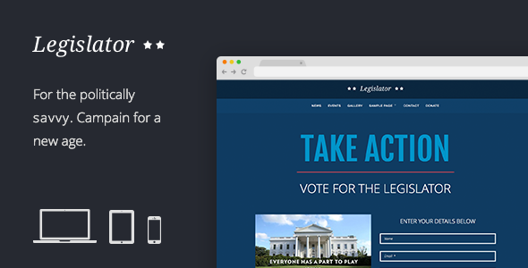 Legislator: Political WordPress Campaign - Political Nonprofit