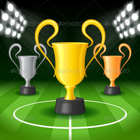 GraphicRiver Soccer Background with Spot Lights and Trophy 7502774
