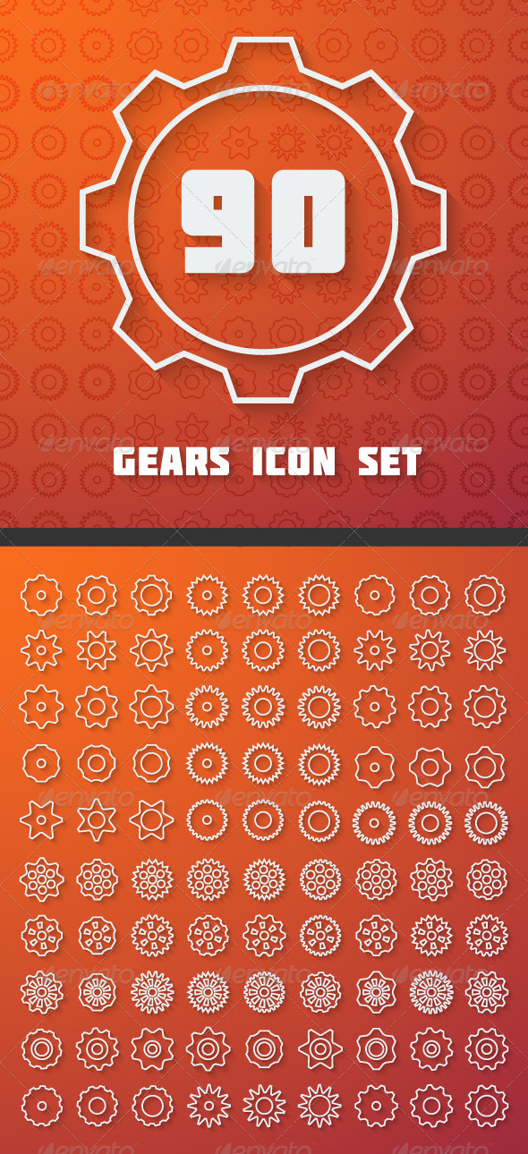 GraphicRiver Line Gears Set 7502777