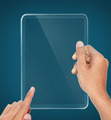 hands holding futuristic transparent tablet pc
