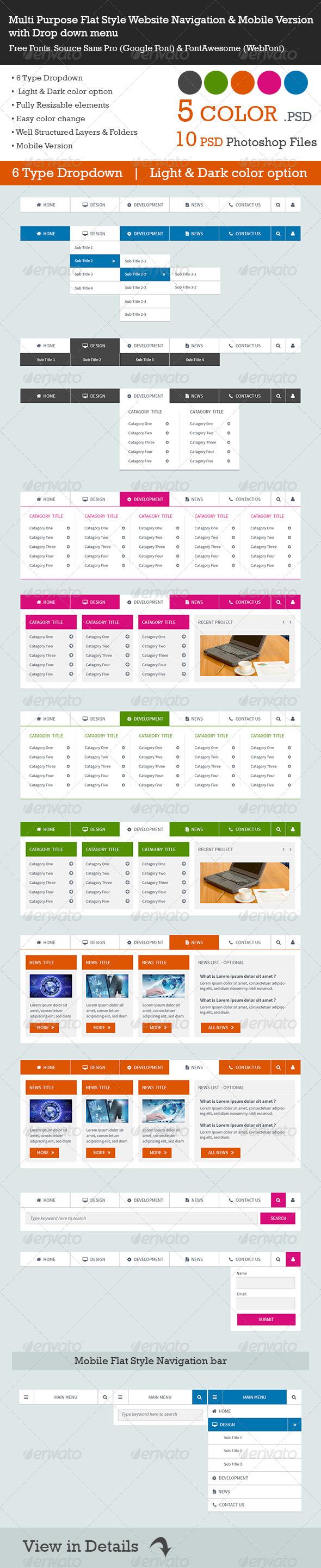 GraphicRiver Multi Purpose Flat Style Website Navigation & Mobi 7486963