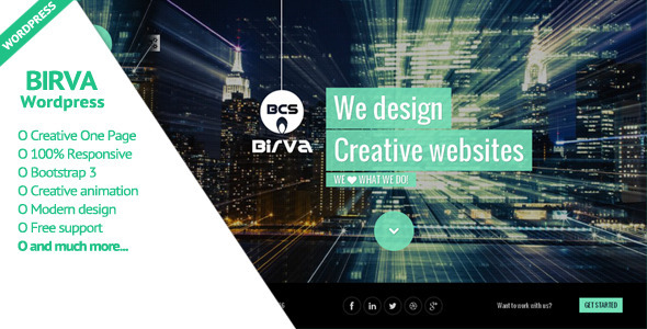 BIRVA - Creative One Page Wordpress Theme - Portfolio Creative