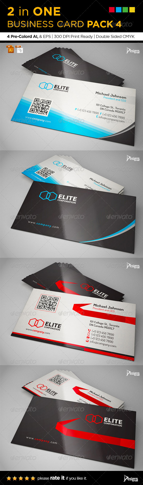 GraphicRiver 2 in One Business Card Pack 4 7504804