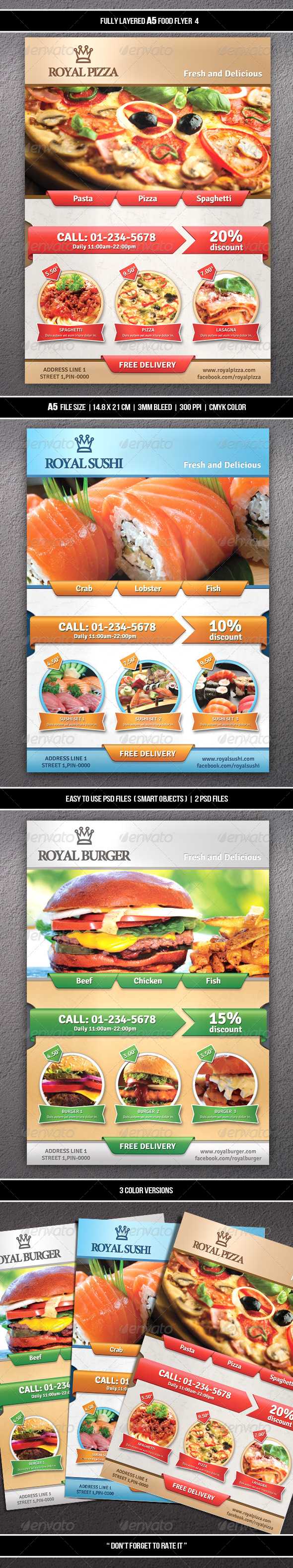 GraphicRiver Food Flyer 4 A5 7504924