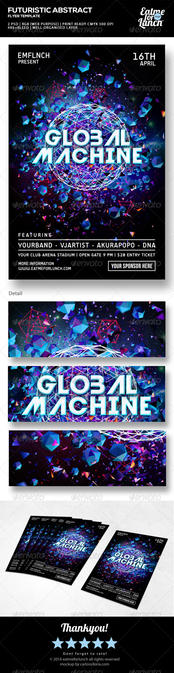 GraphicRiver Futuristic Electronic Music Flyer Global Machine 7504931