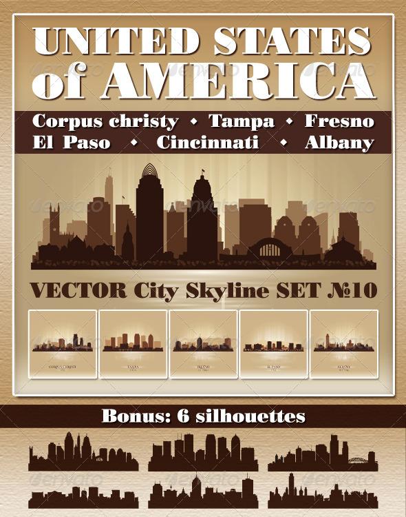 GraphicRiver Vector City Skyline USA Set Number 10 7505218