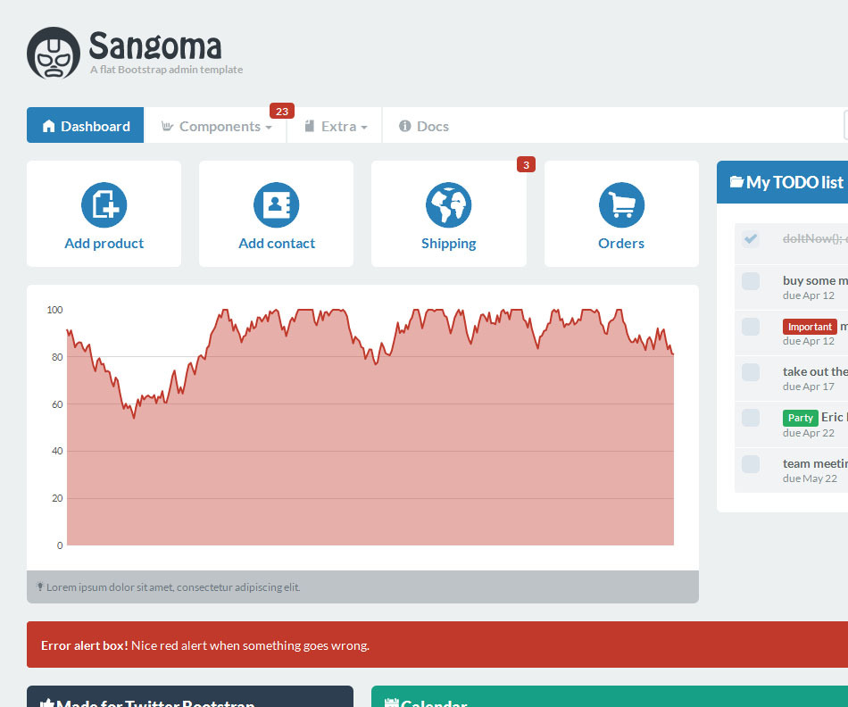Sangoma Bootstrap Admin Template - Sangoma dashboard