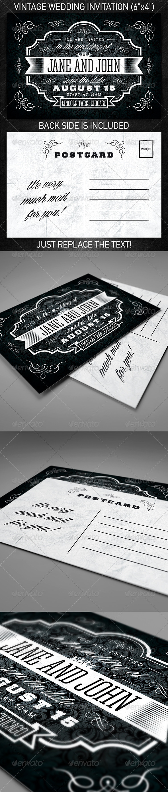 GraphicRiver Vintage Wedding Invitation 7459725