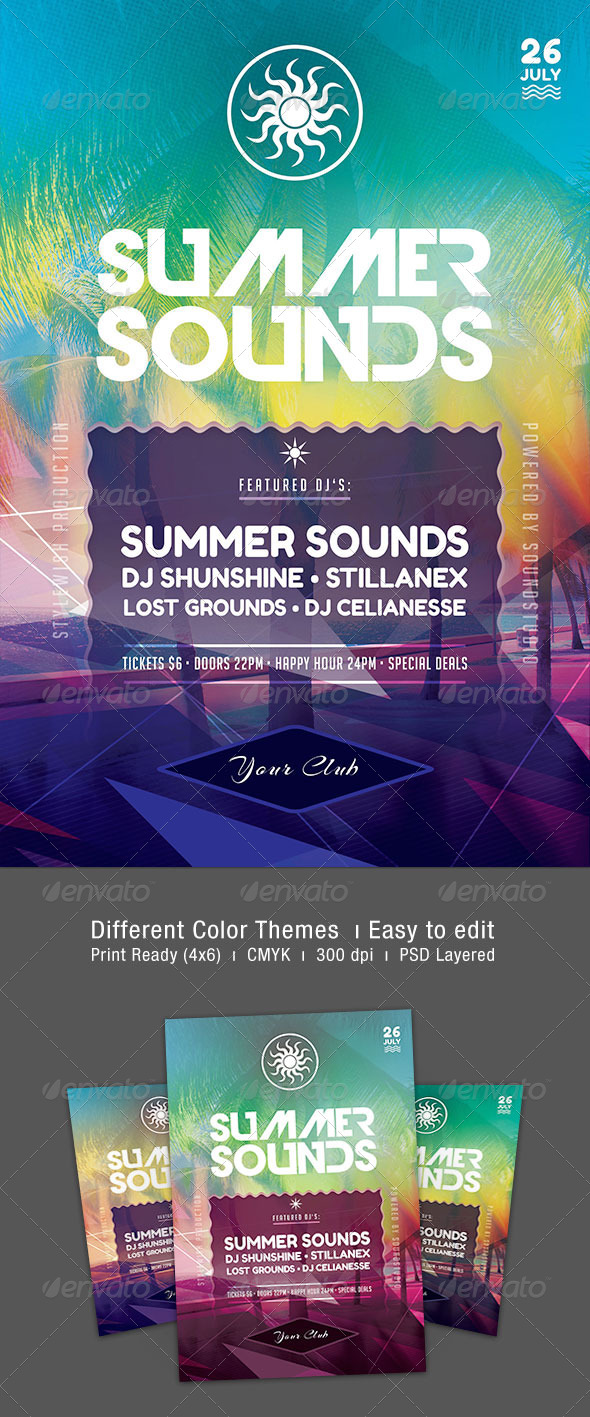 Summer Sounds Flyer - Clubs & Parties Events
