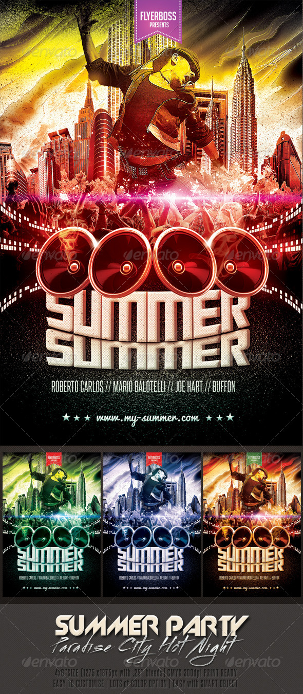 GraphicRiver Hot Summer Party Flyer 7498980