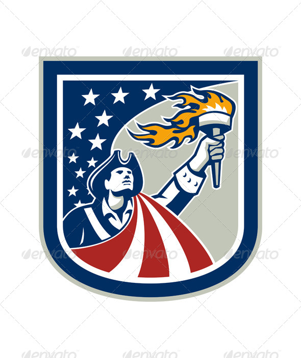 American Patriot Holding Up Torch Flag Shield