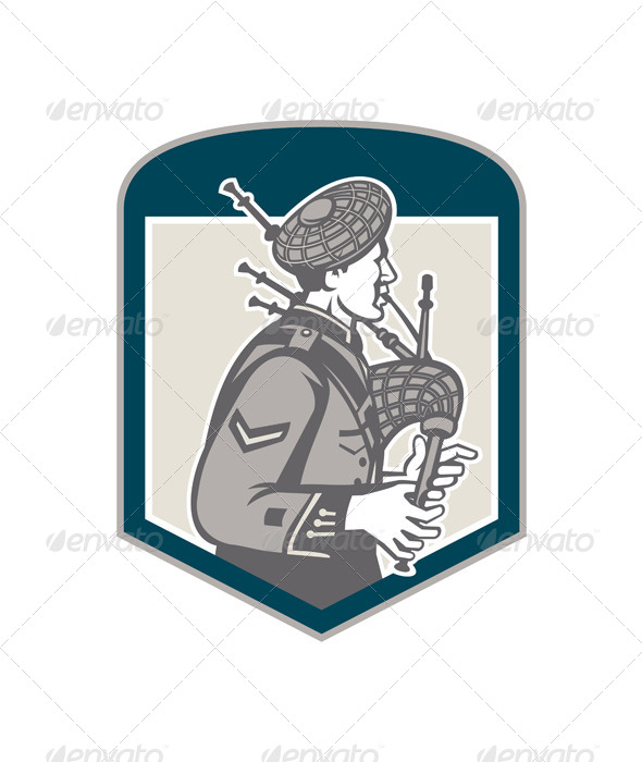 GraphicRiver Scotsman Bagpiper Playing Bagpipes Crest Retro 7505724