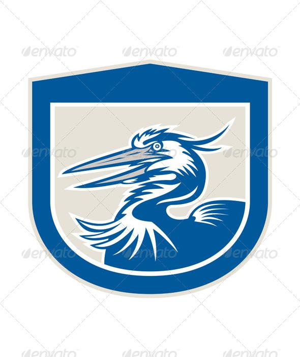 GraphicRiver Great Blue Heron Head Shield Retro 7505739