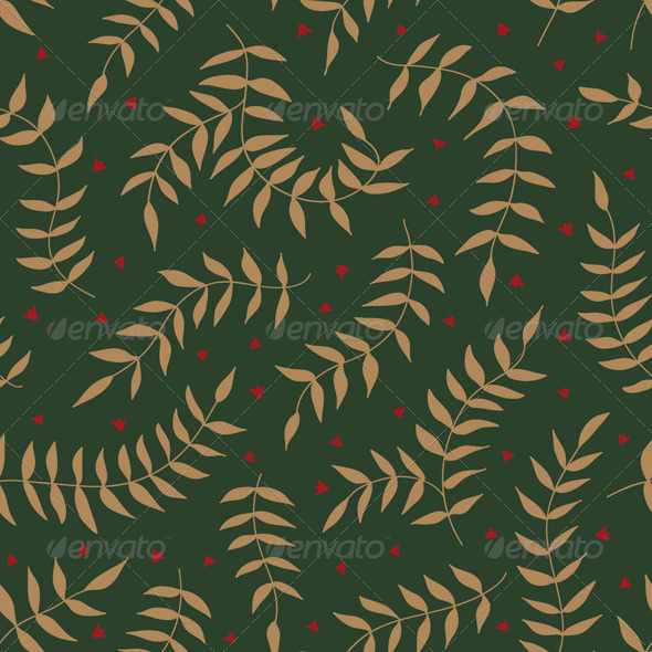 GraphicRiver Seamless Pattern with Leaves and Small Flowers 7505743