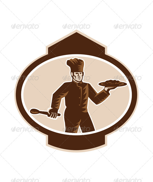 GraphicRiver Chef Cook Serving Food Platter Woodcut Retro 7505759
