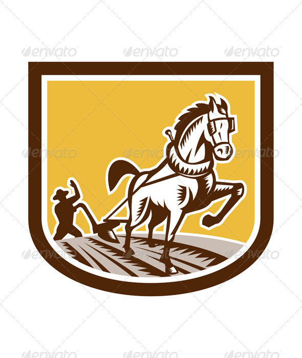 GraphicRiver Farmer and Horse Plow Farm Crest Woodcut Retro 7505829