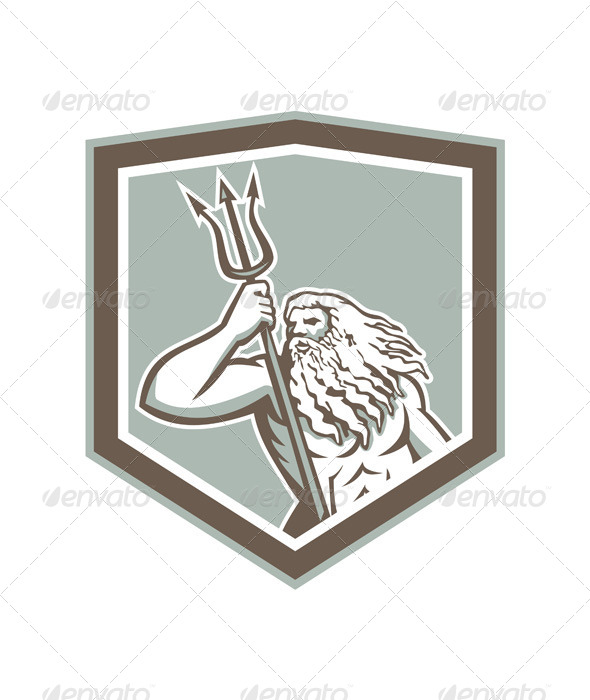 GraphicRiver Neptune Holding Trident Shield Retro 7505923