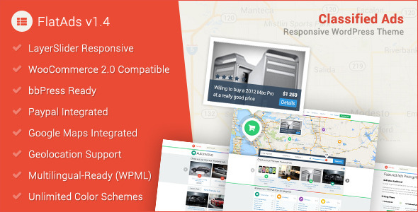 FlatAds – Classified AdsWordPress Theme The FlatAds is a Premium Directory/Listing WordPress theme, super flexible and has a fully responsive design (try
