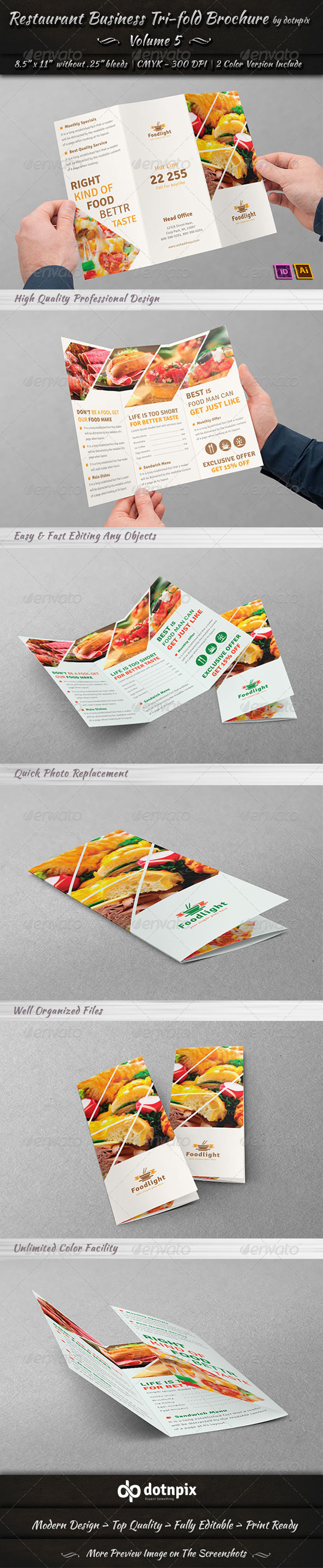GraphicRiver Restaurant Business Tri-Fold Brochure Volume 5 7506059
