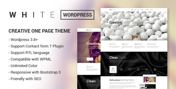ThemeForest WHITE Creative One Page Wordpress Theme 7460543