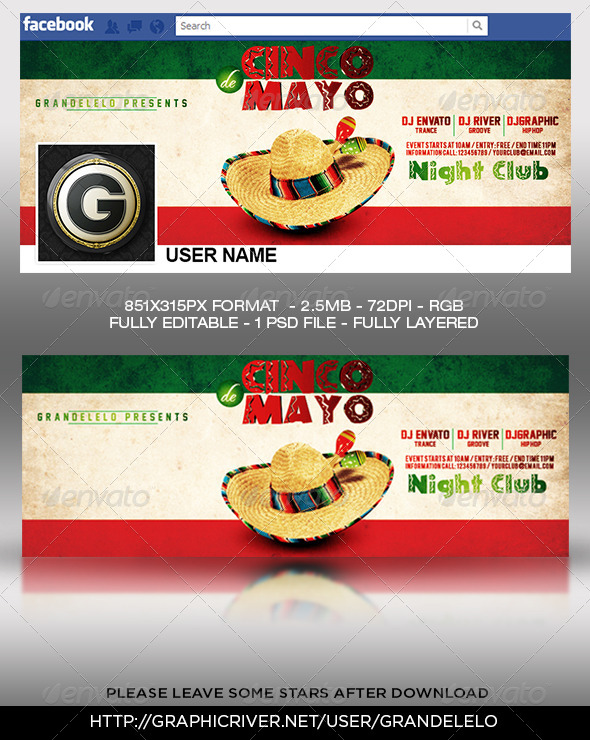 GraphicRiver 5 de Mayo Facebook Cover Templat 7506157