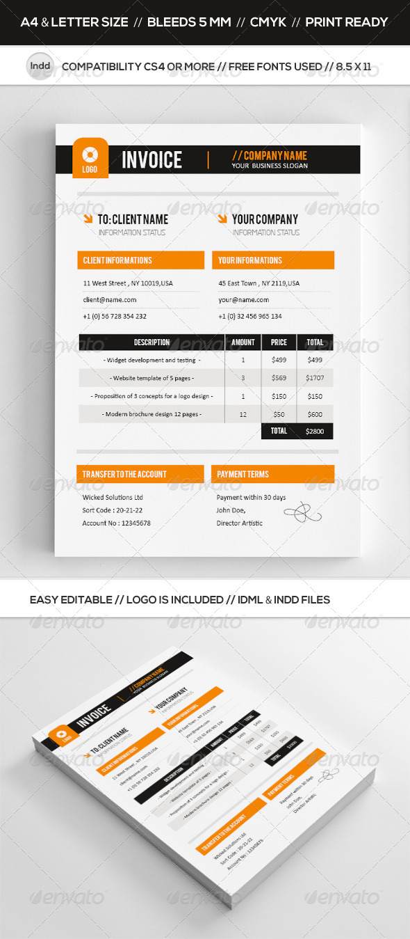 GraphicRiver Professional & Clean Invoice Template 7506279