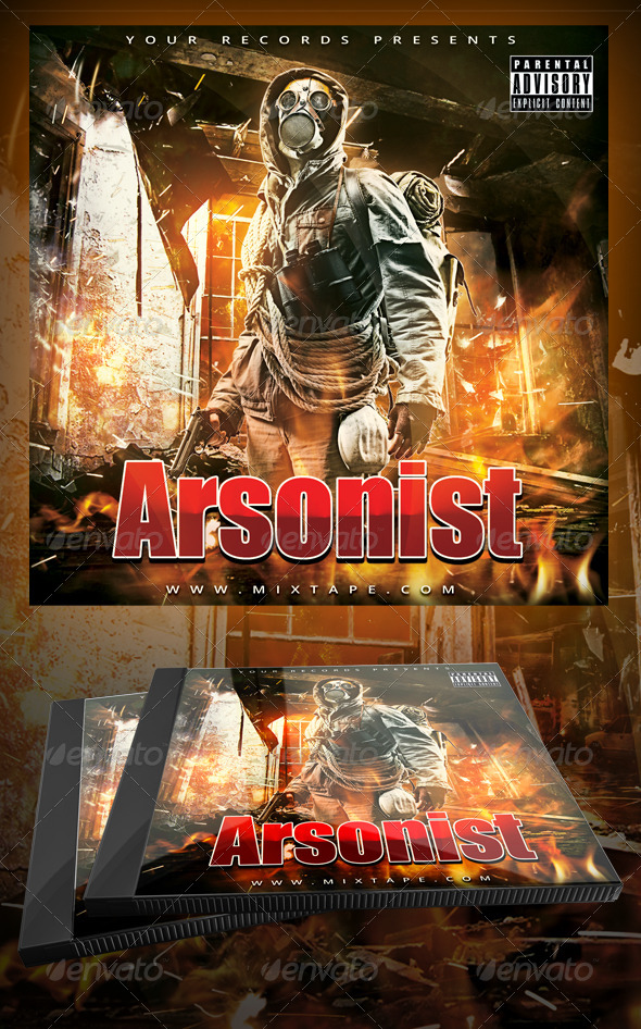 GraphicRiver The Arsonist Mixtape CD Cover Template 7506291