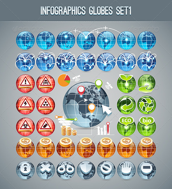 GraphicRiver Infographics Globes Set1 7504940