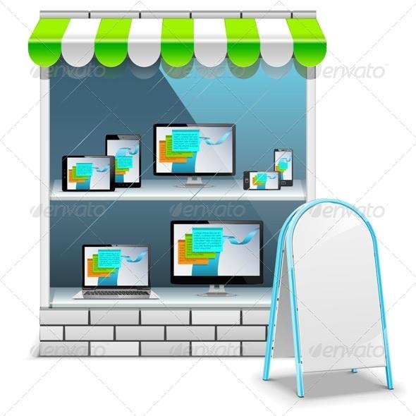 GraphicRiver Vector Computer Store 7506745