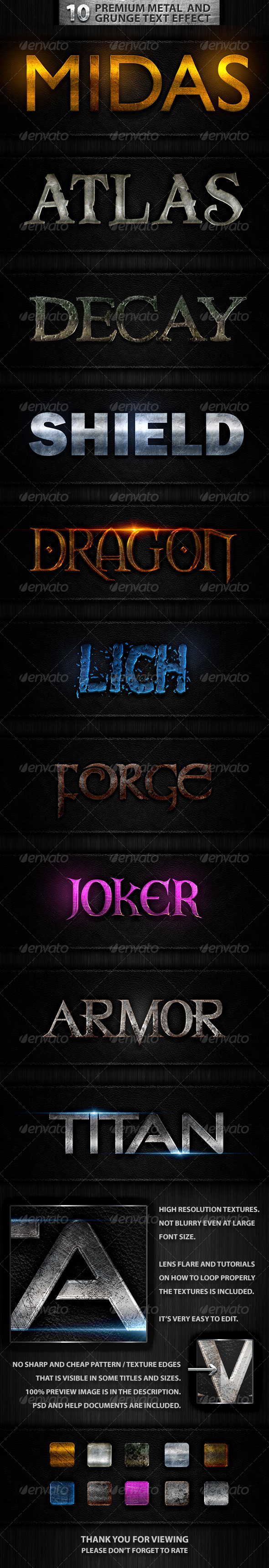 GraphicRiver 10 Premuim Metal and Grunge Text Effects 7481467